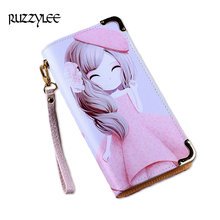 Cute Cartoon Design Women's Purse Leather And Wallet Female Cell Phone Ladies Purses 2017 Long Zipper Women Wallets Girl Clutch