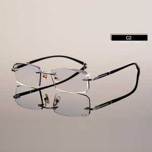 Image 4 - Модные очки A001 Алмазная оправа для очков без оправы для мужчин