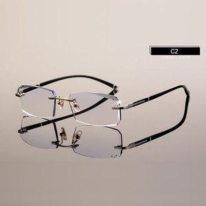 Image 4 - Fashion Eyeglasses A001 Diamond Trimming Cutting Rimless Eyeglasses Prescription Optical Glasses Frame for Men Eyewear
