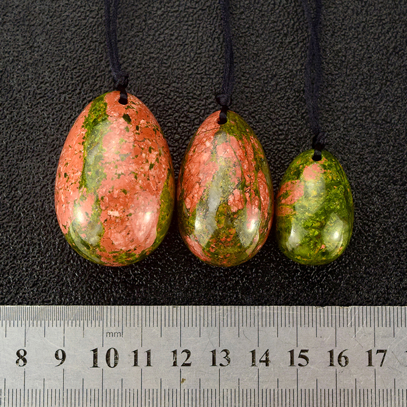 3 Pcs Drilled Unakite Yoni Eggs Crystal Egg Sphere Pelvic Kegel Exercise Vaginal Tightening Jade Eggs for Women Health Care in Massage Relaxation from Beauty Health