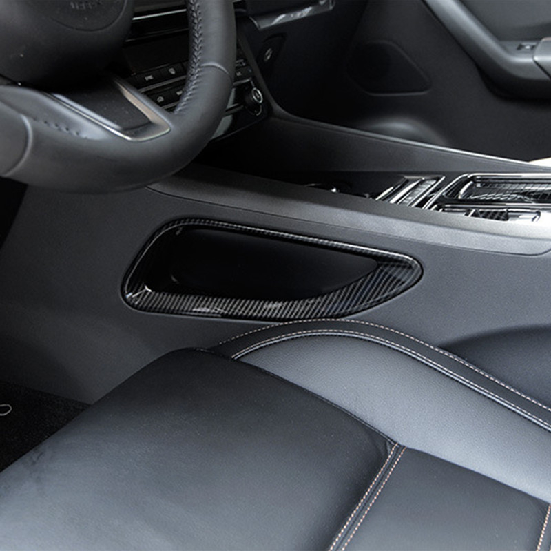 ABS 2pcs Center Console Both Side Frame Decoration Cover Trim For Jaguar F Pace X761 2016 2017 Carbon Fiber Style in Car Stickers from Automobiles Motorcycles