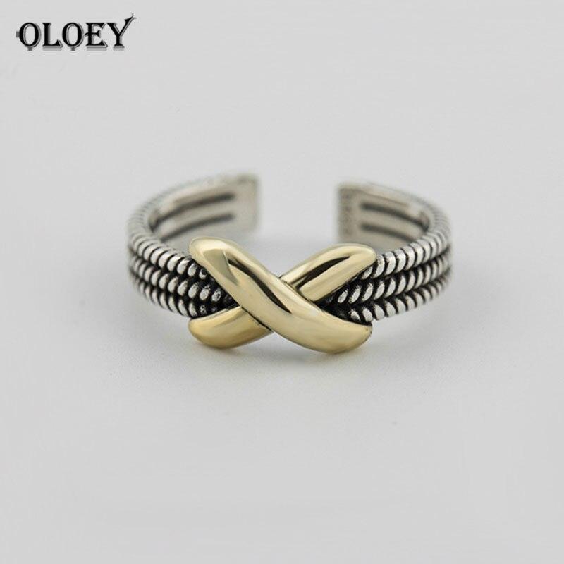 OLOEY Genuine 925 Sterling Silver Open Ring Women Vintage Infinity Gold Tone Metal Adjustable Finger Rings Fine Jewelry YMR221