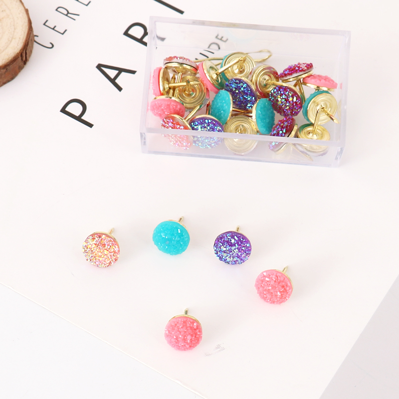 20pcs/box High Quality Cork Board Safety Colored Push Pins Bright Color Thumbtack Office School Accessories Supplies