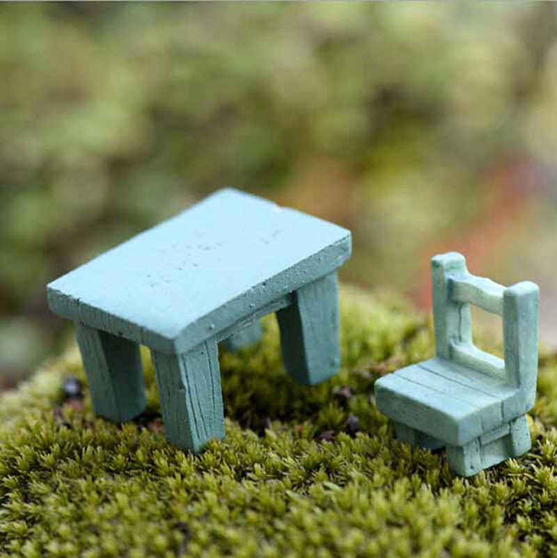 1 juego = 2 uds ornamentos resina artesanía Micro decoración mesa escritorio silla miniatura casa de muñecas Mini juguete bonsái casa jardín decoración