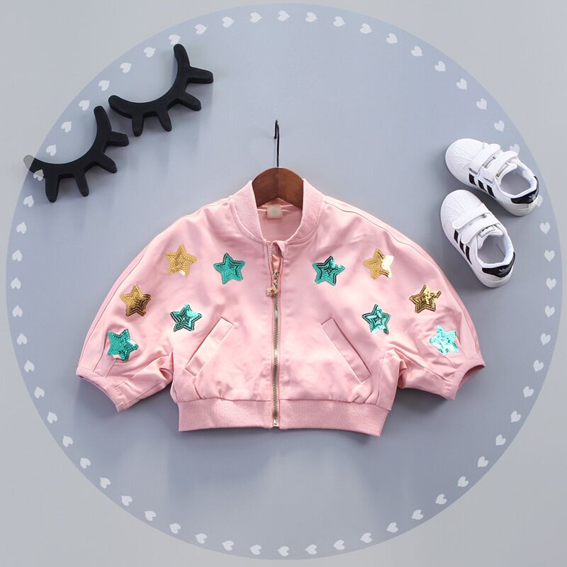 1-4Y Baby Girl Jackets Coats Star Sequins Embroidered Windbreaker For Toddler Girls Boys Spring Kids Jacket Outerwear Winter