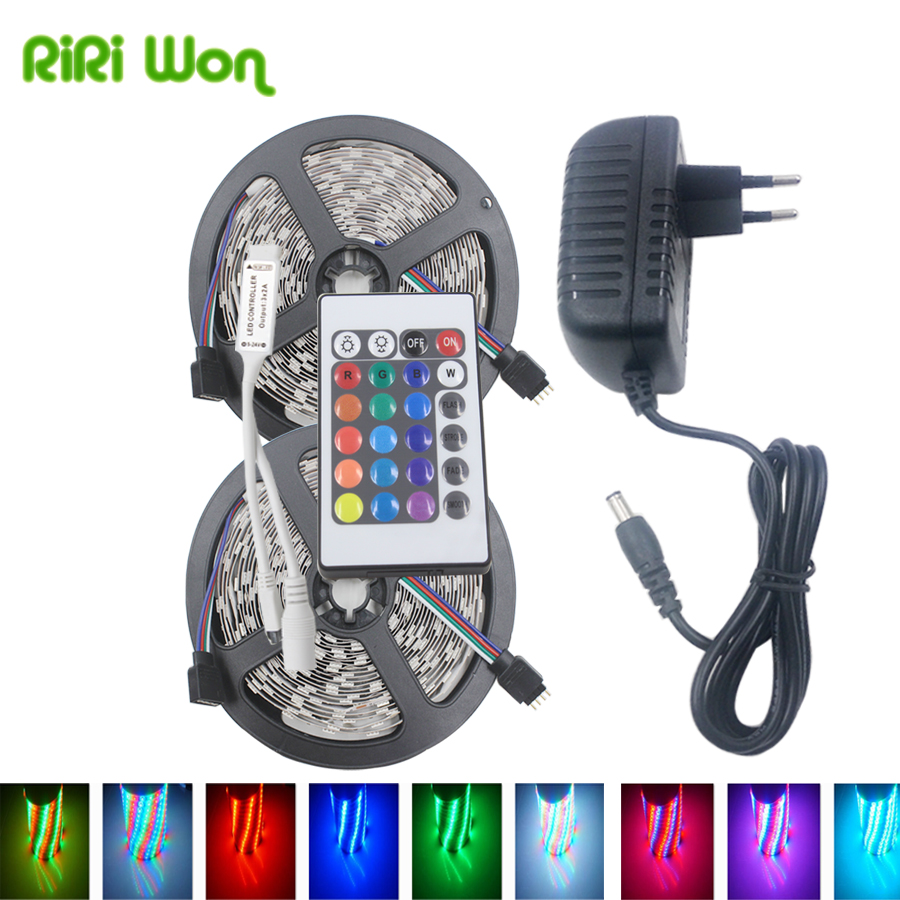 RGB LED Strip Light Waterproof SMD3528 5050 Led RGB Tape 5M  DC12V Flexible Ribbon Diode Tape+Controller+Power led strip kit led strip light 3528 smd 20m 1200leds dc12v flexible led ribbon diode tape forrf touch remote 78w power supply