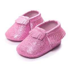 Детская обувь 2017 детская кроватка Ленточки туфли с блестками мягкая подошва для малышей Спортивная Повседневное детские мокасины bebek ayakkabi