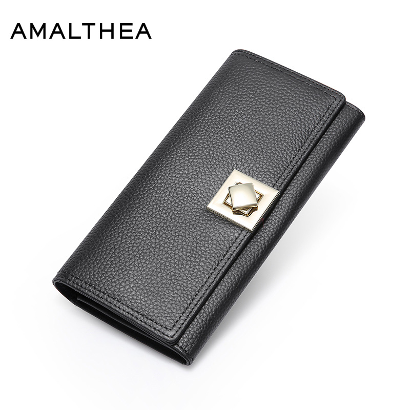 AMALTHEA Genuine Leather Wallet Female Women Wallets And Purses Card Holder Woman Wallet Long Ladies Purse Woman Wallets AMWG083 цена и фото