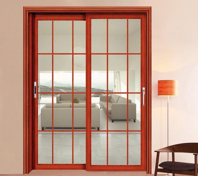 Económico diseño de aluminio puerta corrediza de vidrio en Puertas ...