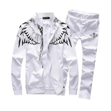 2017 New men clothing Angel Wings Printed men's sportswear Suit outdoor  tracksuit men sweatshirts +pants Running Sets plus size
