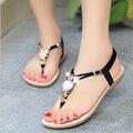 Женщины сандалии 2016 комфорт сандалии женщин лето классический горный хрусталь мода плоским Большой размер сандалии размер 36 - 42