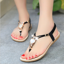 Women sandals 2016 Comfort Sandals Women Summer Classic Rhinestone Fashion Flat Plus Size Sandals Size 36-42