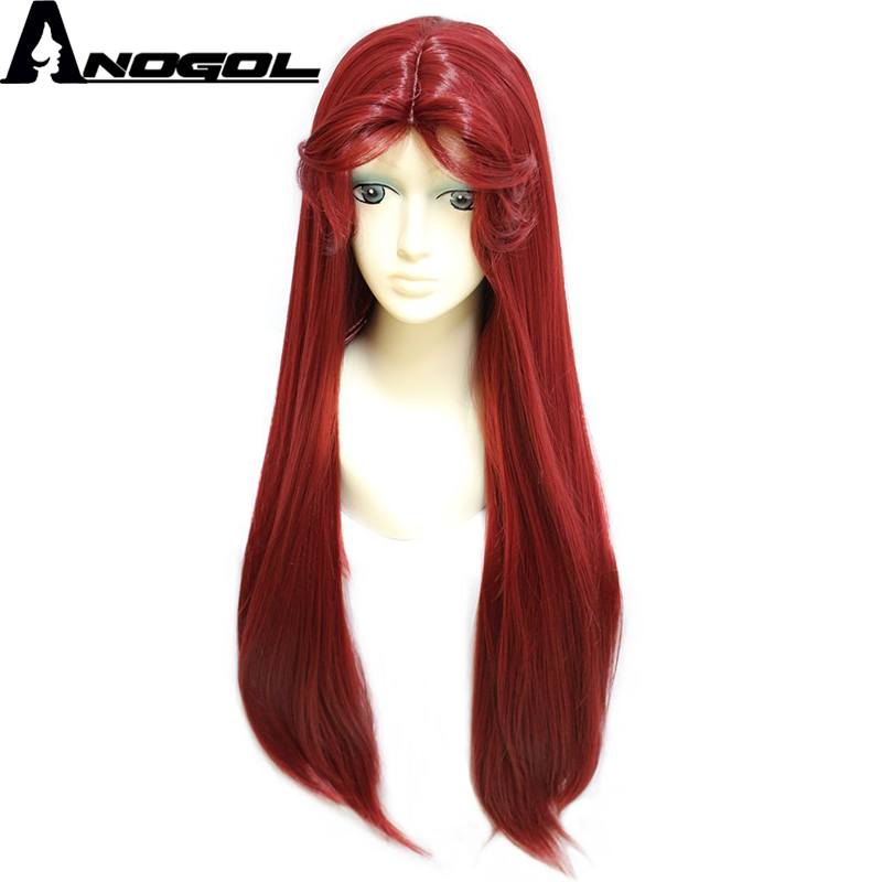 Anogol High Temperature Fiber Starfire Natural Long Straight Princess Wine Red Synthetic Cosplay Wig For Halloween ...