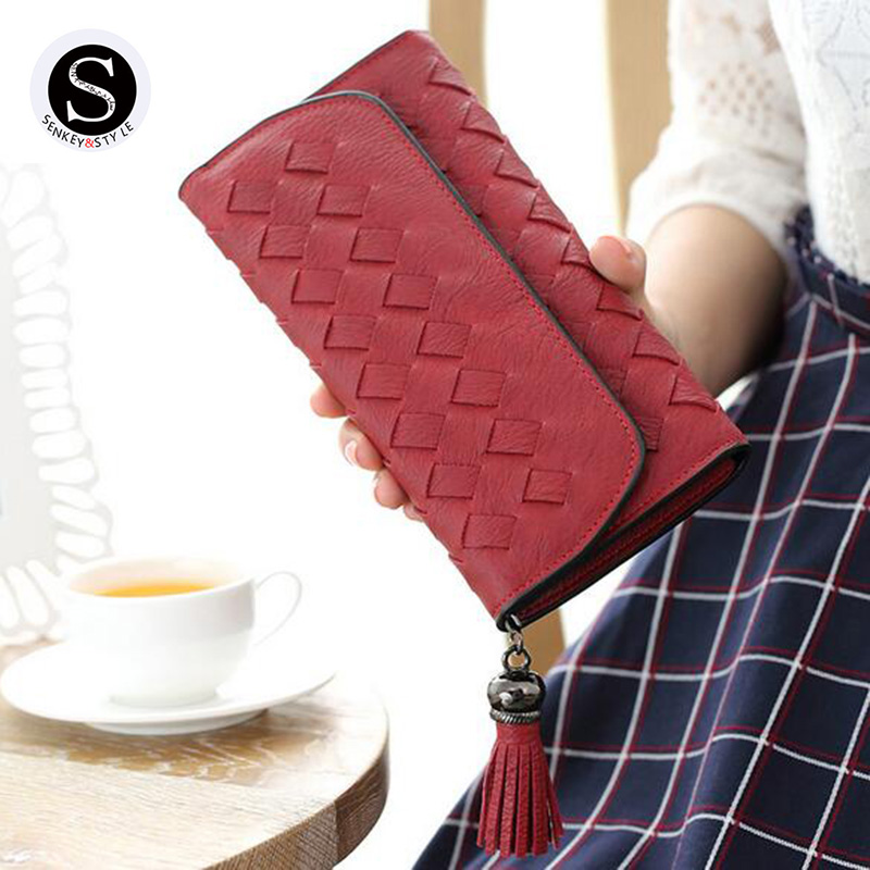 Senkey Style Designer Famous Brand Women Wallet 2017 Leather Lingge Tassel Long Cell Phone Money Clip Womens Purses Clutch womens wallets and purses famous 2016 fashion money clip wallet women luxury brand matte stitching long clutch free shipping