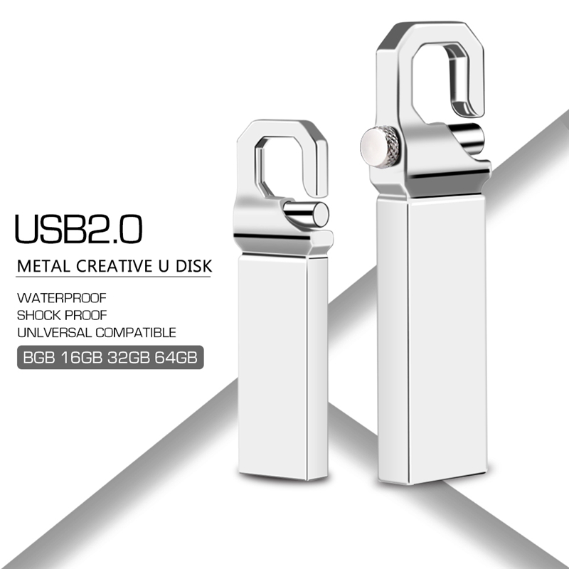 New Arrival Usb Flash Drive 32GB Usb 2.0 Metal Pen Drive 16GB 8GB 4GB Silver Flash Memory Stick 128GB 64GB Pendrive Gift U Disk-in USB Flash Drives from Computer & Office
