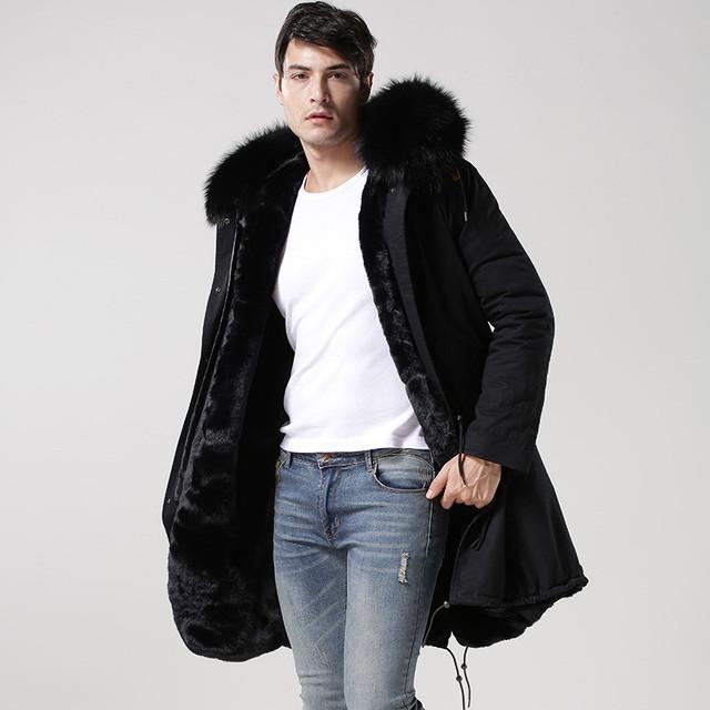 Casual fashion Italy design Mr raccoon fur long jacket, army green, dark blue,  black fur lined furs parka