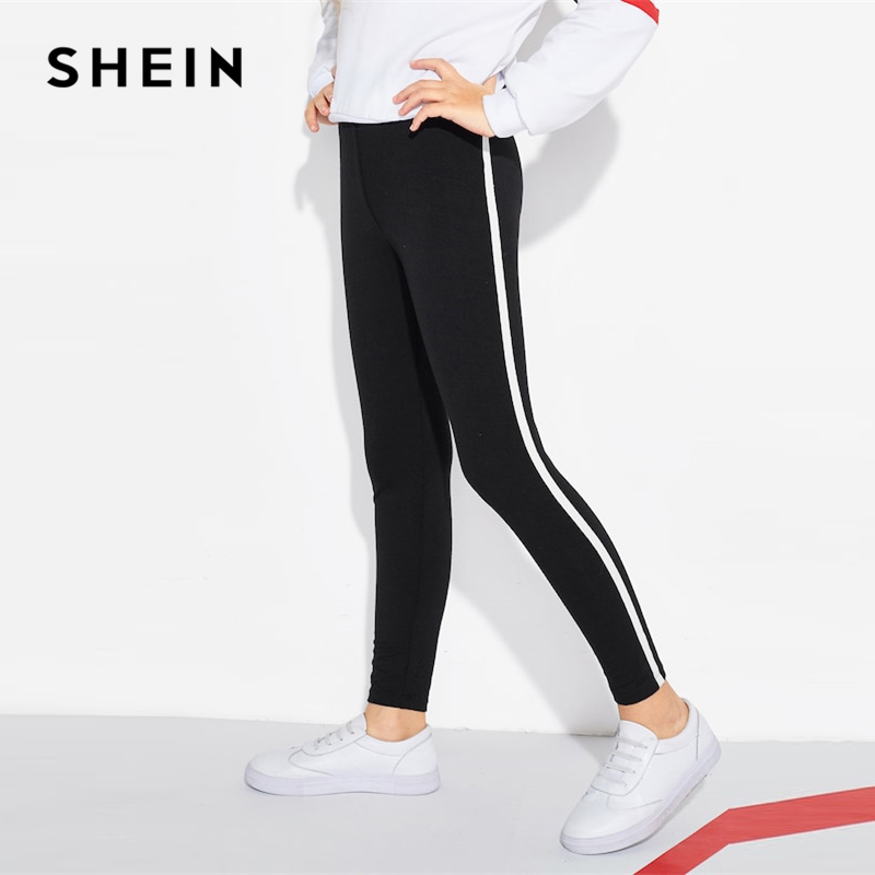 SHEIN Kiddie Black Contrast Sideseam Skinny Casual Pant Girl Leggings 2019 Spring Elastic Waist Kids Active Wear Pencil Trousers contrast panel leggings