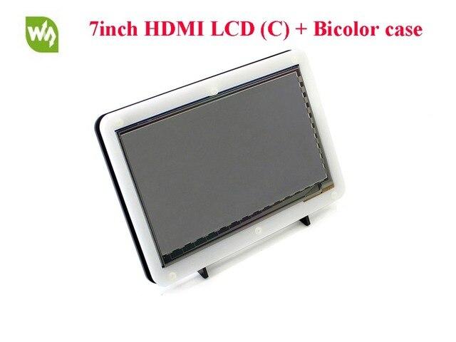 7 hdmi-дюймовый ЖК-1024*600 Емкостный Сенсорный Экран IPS Дисплей с Биколор чехол для Raspberry Pi Banana Pi/Banana Pro BB Черный