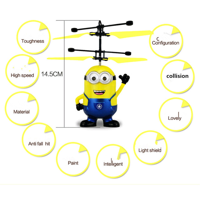 Drone Helicopter Hand Control Toys Minion Quadcopter