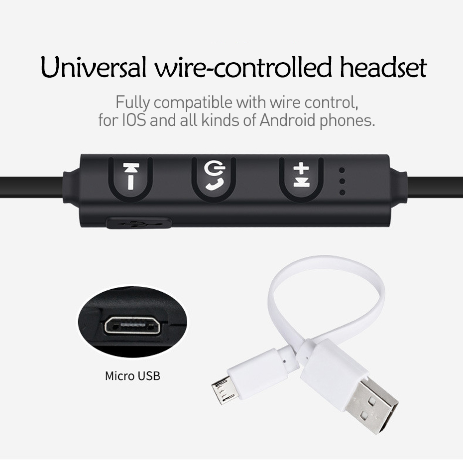Wireless Bluetooth Earphone Cordless Headphone with Mic Running Sports Portable Neckband Headsets for ios Andriod Mobile Phone 4