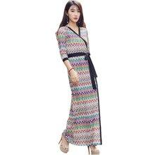 2017 D'été Femmes Maxi Robe Dames V-cou Libres manches Galapagos Imprimer Long Beach Robes Robe Longue Femme Ete
