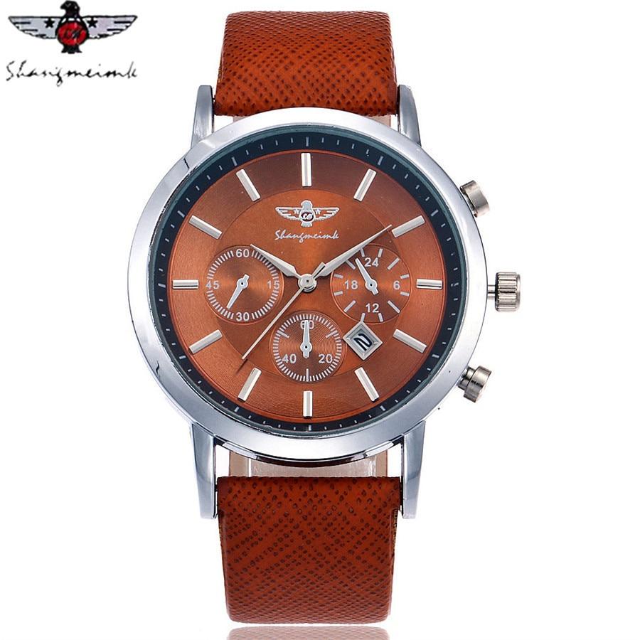SHANGMEIMK Brand Men Watch Luxury Fashion Calendar Business Watch Casual Leather Strap Quartz Wristwatches Relogio Masculino Hot цена и фото