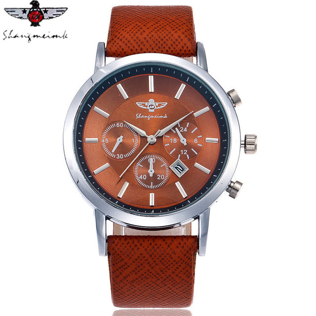 SHANGMEIMK Brand Men Watch Luxury Fashion Calendar Business Watch Casual Leather Strap Quartz Wristwatches Relogio Masculino Hot