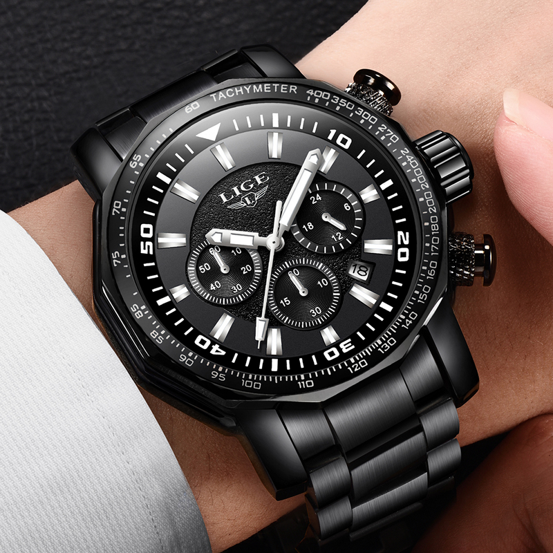 Men Watch Top Luxury Brand LIGE Mens Waterproof Sport Quartz Watches Business Big Dial Fashion Casual Stainless Steel Male Clock men watch top luxury brand lige men s mechanical watches business fashion casual waterproof stainless steel military male clock