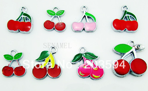 ME020 Wholesale 100Pcs/Lots DIY Alloy Mixed Enamel Cherry Charms Fashion jewelry accessories, charms, pendants