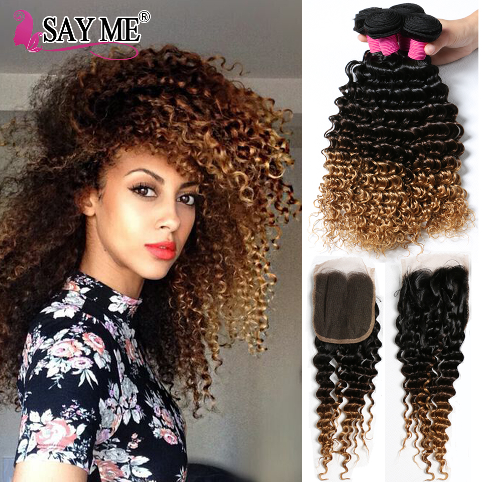 Top 8a Peruvian Ombre 3 Bundles With Lace Closure 3 Tone Ombre Deep Curly Hair With