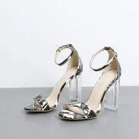 Summer New Crystal Heel Fish Mouth Ankle Strap Fanggen High Heels 10 5CM Women S Shoes