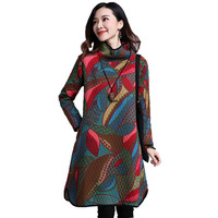 Ethnic Style 2017 Autumn Winter Women Dress Warm Cotton Padded High Collar Print Long Sleeve Dresses