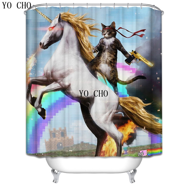 YO CHO Creative Funny Animal Shower Curtain Eco Friendly Polyester Fabric Bathroom Curtains With Hooks