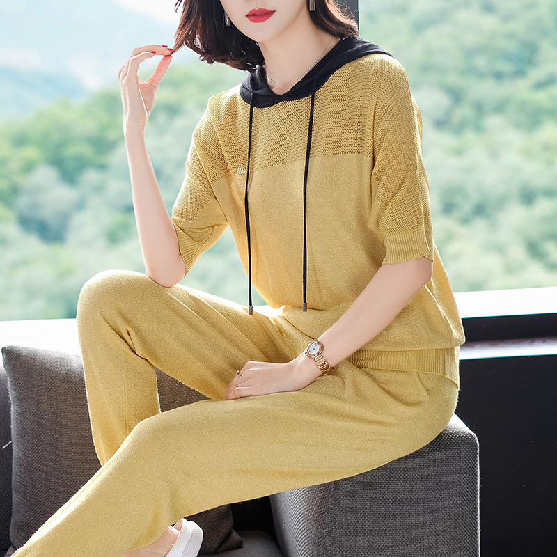 2XL Brand Suit 2019 Spring Summer Women Suit New Casual Sets Half Sleeve Hooded T shirt + Long Pencil Pants 2 Piece Suits Female