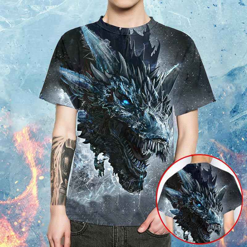 Draak Game Of Thrones t shirts mannen Harajuku 2019 hot koop Zomer off white 3d print mode gym Oversized T shirt streetwear