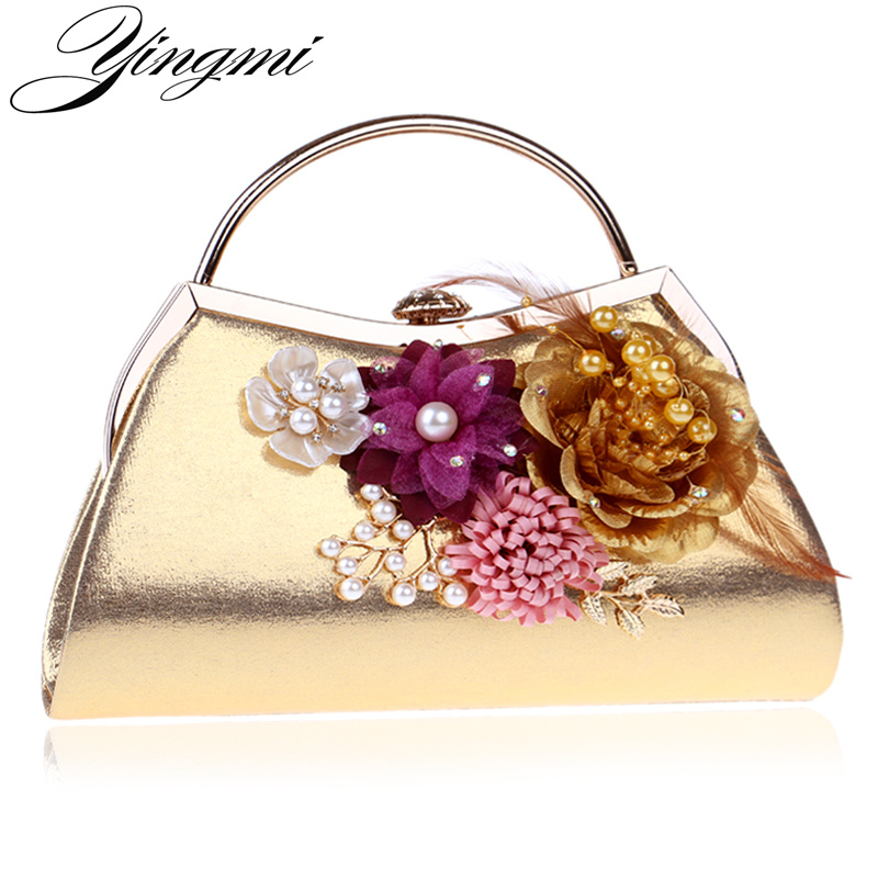 YINGMI Feather Fashion Flower Women Evening Bags Leaf Diamonds Beaded Handmade Style Lady Clutches Purse Evening Bags pu women messenger chain shoulder handbags beaded handmade style metal diamonds evening bags leather fashion purse bags