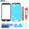 For Samsung Galaxy S3 Screen Replacement Front Glass Lens Kit White Uv Glue Blade Adhesive tools Black
