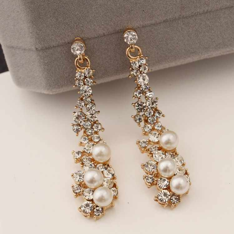 Golden Long Wedding Pearl Earrings Bride Crystal Long Gold Earrings 2018 New Fashion Women's Party Party Free Shipping Gift