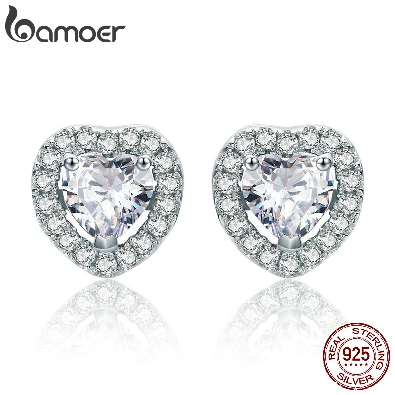 BAMOER New Arrival 925 Sterling Silver Double Heart Love Stud Earrings For Women Clear CZ Silver Earrings Jewelry Brincos SCE059