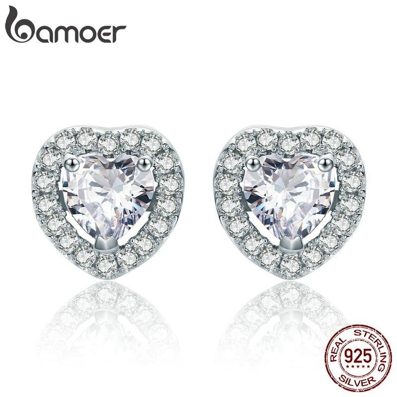 BAMOER New Arrival 925 Sterling Silver Double Heart Love Stud Earrings For Women Clear CZ Silver Earrings Jewelry Brincos SCE059
