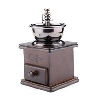 Retro Style Manual Hand Crank Coffee Grinder Golden Tone Cast Iron Burr Core Wood Case FG