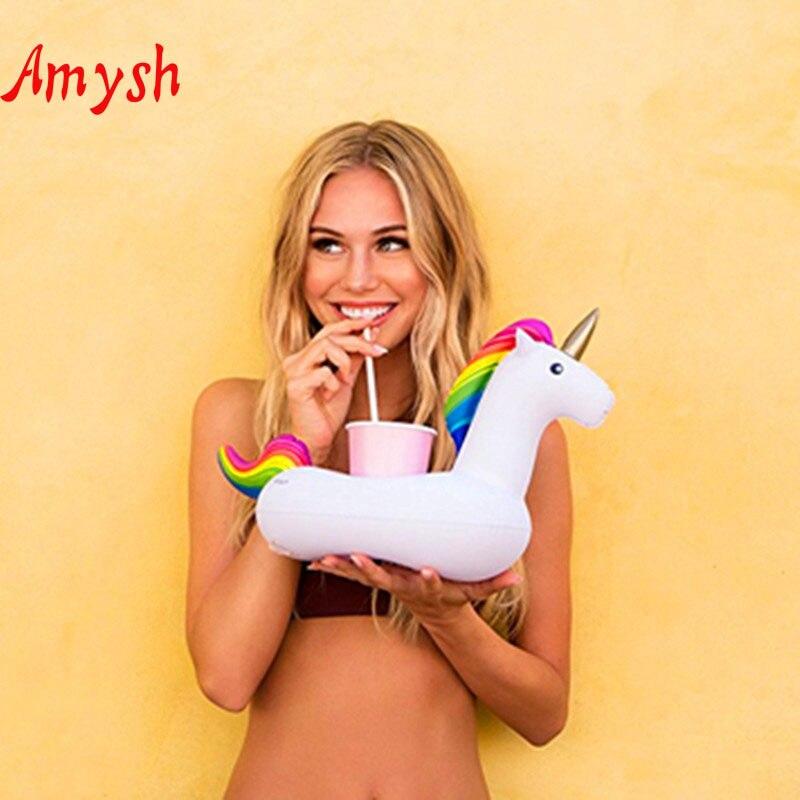 Amysh Лето Надувные игрушки Симпатичные напиток может держатель надувные ПВХ плавающей игрушка единорог Бассейны Ванная комната воды пляжа И...
