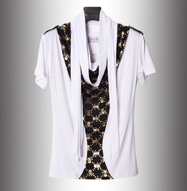 5c440b3b4598 2017 Summer Non Mainstream New Scarf Collar Skull Hip Hop T Shirt ...