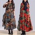 Nuevas mujeres de gran tamaño de Algodón y Lino de manga larga irregular swing grande vestidos de estilo folk LYQ-88-46