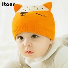 Otoño Invierno Cap Beanie Adorable sombrero cómodo lana Fox patrón tejer  mantener caliente protección embroma los 6363b7d1606
