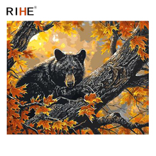 RIHE Bear Maple leaves Diy Painting By Numbers Animal Tree Oil On Canvas Hand Painted Cuadros Decoracion Acrylic Paint