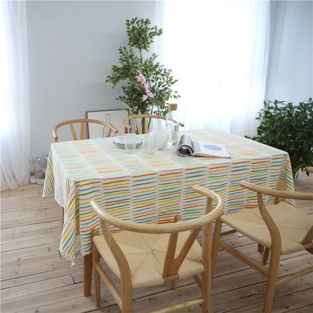 CITYINCITY Rainbow White Table Cloth Cotton Dinner Tablecloth Decoration  Table Cover For Rectangular Printed Washable