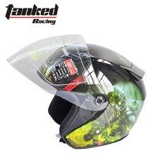 2016 Новый Tanked Гонки половина лица мотоциклетный шлем мужчины и женщины мотоцикл электрический велосипед гоночные шлемы половина крышка ABS