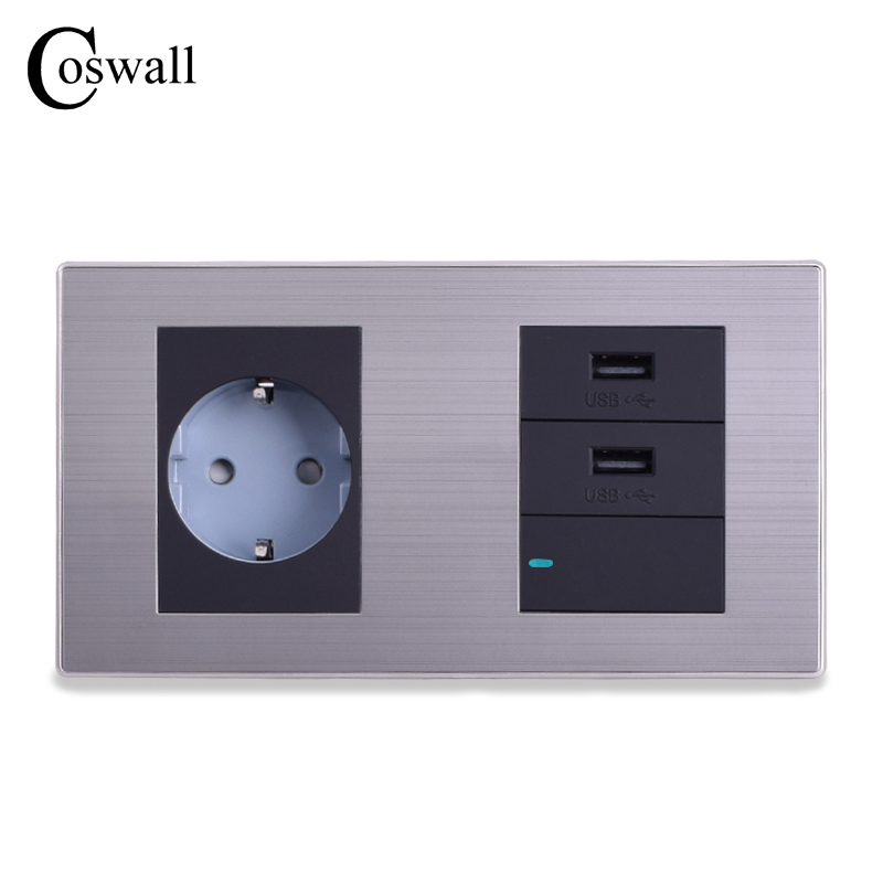 COSWALL Double Panel EU Standard Wall Socket + Dual USB Charge Port For Mobile 5V 2.1A Output  + 1 Gang 1 Way Switch With LED coswall 16a eu standard wall double socket dimmer regulator light switch stainless steel panel 236 86mm