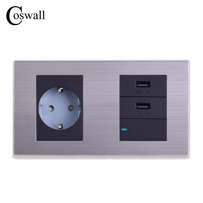 COSWALL doble Panel EU enchufe de pared estándar + puerto de carga USB Dual para móvil 5 V 2.1A salida + 1 Gang 1 interruptor de manera con LED